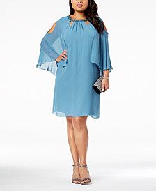 SL Fashions Plus Size Embellished Cold-Shoulder Cape Dress