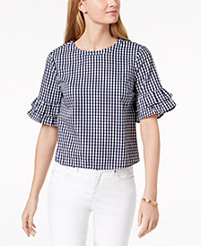 Maison Jules Cotton Ruffled-Sleeve Top, Created for Macy's