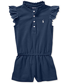Ralph Lauren Flutter-Sleeve Cotton Romper, Baby Girls
