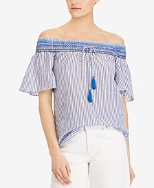 Lauren Ralph Lauren Petite Striped Off-The-Shoulder Top