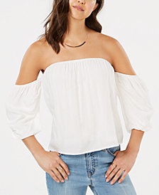 Hippie Rose Juniors' Puff-Sleeved Off-The-Shoulder Top