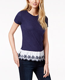 Maison Jules Embroidered Ruffle-Hem Top, Created for Macy's