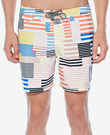 "Original Penguin Men's Patchwork Striped 6"" Swim Trunks"