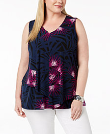 Alfani Plus Size Printed Tiered Top, Created for Macy's