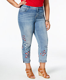 Style & Co Plus Size Liberty Embroidered  Boyfriend-Fit Ankle Jeans, Created for Macy's