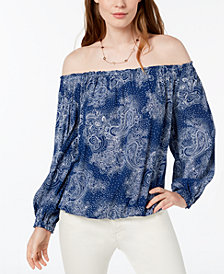 Tommy Hilfiger Paisley-Print Off-The-Shoulder Top, Created for Macy's