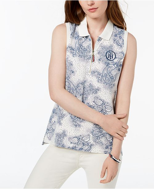 bda2dc8f ... Tommy Hilfiger Printed Sleeveless Polo Top, Created for Macy's ...