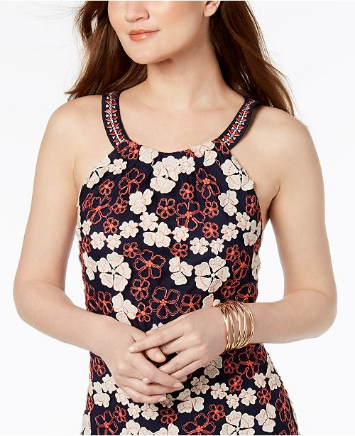 Embroidered Coral Dress by Segal Shelli Laundry Floral Open Back Navy pqSIH
