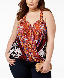I.N.C. Plus Size Printed Halter Top, Created for Macy's