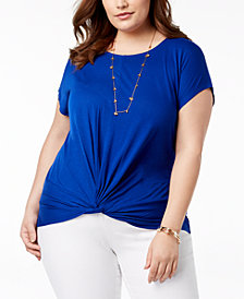 I.N.C. Plus Size Twist-Hem T-Shirt, Created for Macy's