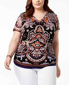 I.N.C. Plus Size Printed Double-Layer Top, Created for Macy's