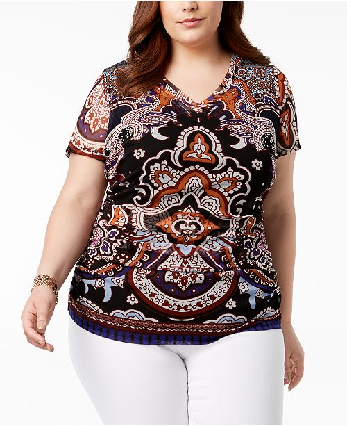 Printed for Double Plus C Top Created N Layer Medley Concepts Macy's Paisley I International Size INC FwqTA780A
