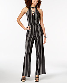 Crystal Doll Juniors' Striped Crisscross Jumpsuit