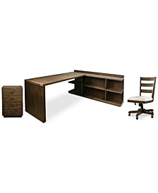 Ridgeway Home Office 4-Pc. Set  (Return Desk, Peninsula USB Outlet Bookcase, Wood Back Chair, & Mobile Cabinet)