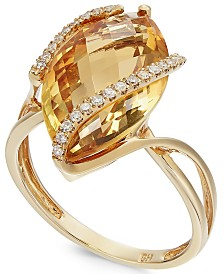 Gemma by EFFY® Marquise-Cut Citrine (8-1/2 ct. t.w.) and Diamond (1/8 ct. t.w.) Wrap Ring in 14k Gold