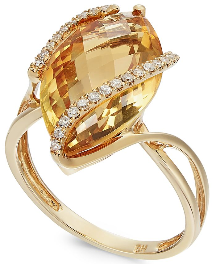 EFFY Collection - Marquise-Cut Citrine (8-1/2 ct. t.w.) and Diamond (1/8 ct. t.w.) Wrap Ring in 14k Gold
