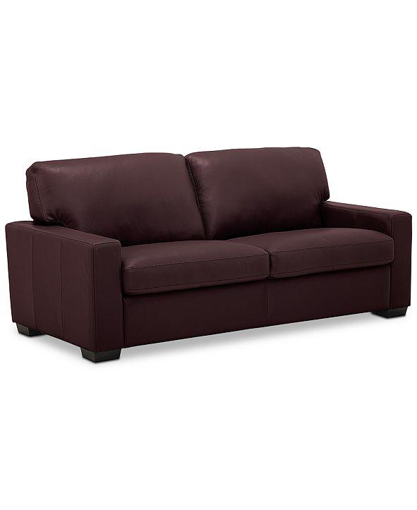 """Furniture Ennia 75"""" Leather Apartment Sofa, Created for Macy's"""