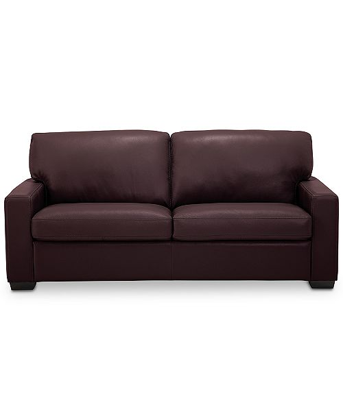 Ennia 75 Leather Apartment Sofa, Created for Macy\'s