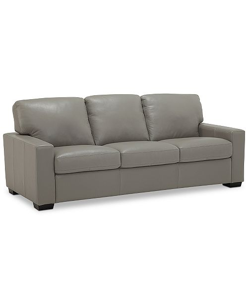 Ennia 82 Leather Queen Sleeper Sofa, Created for Macy\'s