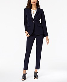 One-Button Blazer, Embellished Shell & Skinny Ankle Pants