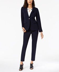 Tommy Hilfiger One-Button Blazer, Embellished Shell & Skinny Ankle Pants