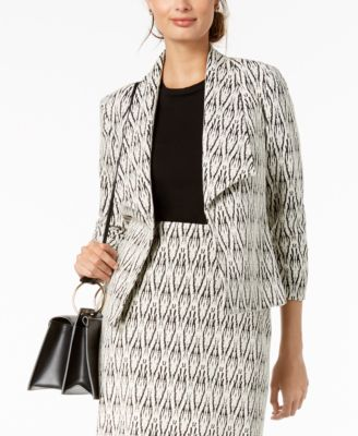 Textured Wing-Lapel Jacket