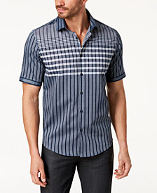 Alfani Men's Large Grid-Print Shirt, Created for Macy's