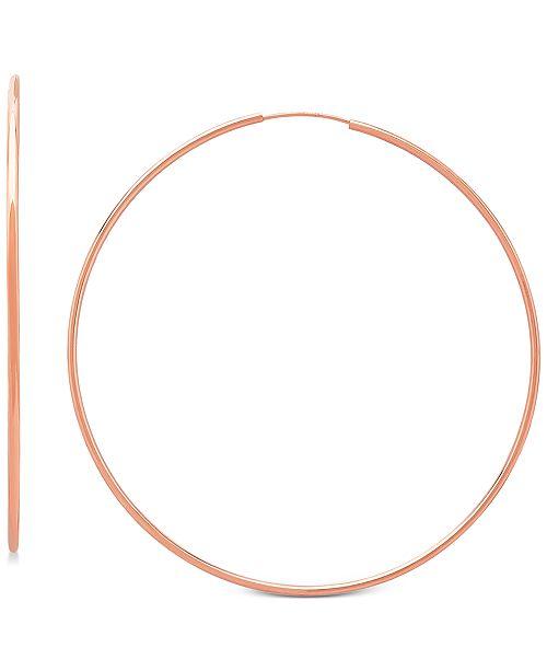 Italian Gold Endless Wire Hoop Earrings in 14k Rose Gold