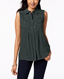 NY Collection Petite Crochet-Bib Sleeveless Top