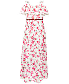 US Angels Big Girls Floral-Print Maxi Dress