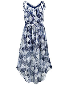 Epic Threads Big Girls Printed Tie-Back Chiffon Dress, Created for Macy's