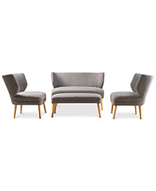 Jensen 4-Pc. Settee, Ottoman & Accent Chair Set, Quick Ship