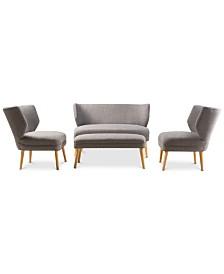 Jensen 4-Pc. Settee, Ottoman & Accent Chair Set, Quick Ship
