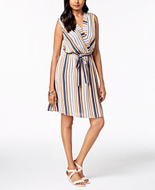 Monteau Petite Striped Faux-Wrap Dress