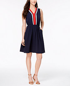 Monteau Petite Varsity-Stripe Skater Dress