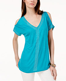 I.N.C. Petite Embellished Cold-Shoulder Top, Created for Macy's