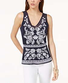 I.N.C. Sheer Embroidered Top, Created for Macy's