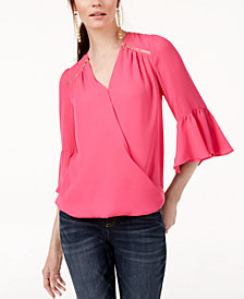 I.N.C. Zip-Detail Surplice Top, Created for Macy's