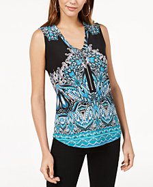 I.N.C. Printed Zip-Neck Tank Top, Created for Macy's