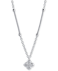 Le Fleur Silver Necklace with White Topaz, Stainless Steel Cable (1.5Mm), Silver Chain