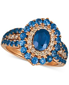 Le Vian® Strawberry & Nude™ Blueberry Sapphire™ (2-1/5 ct. t.w.) & Diamond (1/4 ct. t.w.) Ring in 14k Rose Gold