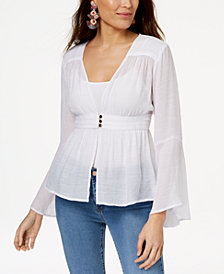 Thalia Sodi Semi-Sheer Smocked-Waist Cardigan, Created for Macy's