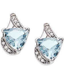 Aquamarine (3-1/5 ct. t.w.) & Diamond (1/8 ct. t.w.) Stud Earrings in 14k White Gold