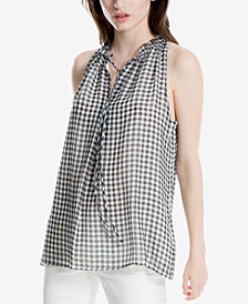 Max Studio London Tie-Front Gingham Top, Created for Macy's