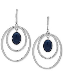 Nine West Silver-Tone Stone Orbital Drop Earrings