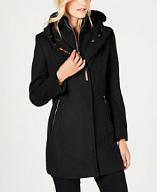 Calvin Klein Faux-Suede-Patch Hooded Coat