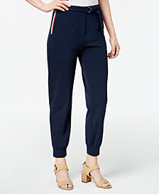 Monteau Petite Striped Ankle Pants