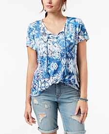 Style & Co Printed Tie-Detail T-Shirt, Created for Macy's