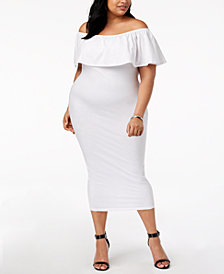 Rebdolls Plus Size Off-the-Shoulder Midi Dress from The Workshop at Macy's