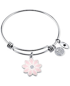 "Unwritten ""She is Like a Wildflower"" Enamel Bangle Bracelet in Stainless Steel"